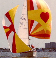Heart image on red and yellow custom spinnaker
