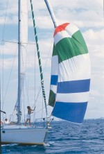 Spinnaker with spinnaker sleeve in use