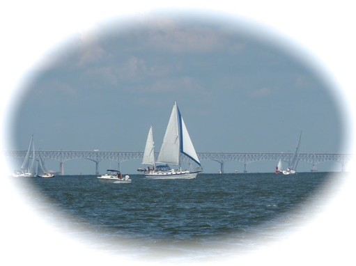 sailboats in front of the Bay Bridge