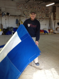 Brad showing repaired genoa with blue cover